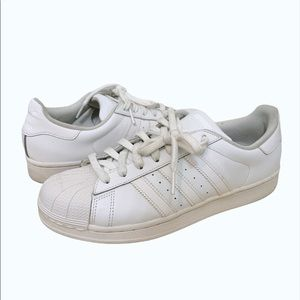 Adidas SuperStar All White Sneakers - Size 8